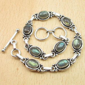 Blue Fire Real LABRADORITE Gem Link Bracelet 20.3 cm ! Silver Plated Jewelry