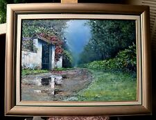 """Fernando Ixcamey 34 x 24 in Oil Painting """"Las Nubes"""" Coffee Plantation Hacienda"""