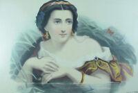 ANCIENNE LITHOGRAPHIE couleurs19 eme  PAR JULIEN Portrait  FEMME affiche  L'EAU