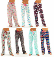 Ladies Fleece Pyjama Lounge Pants Bottoms UNICORN PENGUIN OWL HEART AZTEC Winter