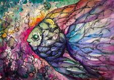 RAINBOW FISH * LARGE A3 SiZE QUALITY CANVAS  ART PRINT