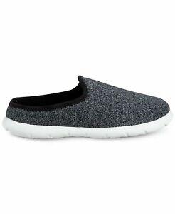 Isotoner Men's Zenz Sport Knit Slippers Black Heathered 12