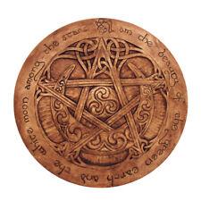 Large Moon Pentacle Plaque - Wood Finish - Dryad Design Pagan Wicca Pentagram