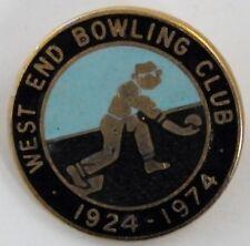 VINTAGE WEST END BOWLING CLUB 1924-74 BADGE PIN. SCARCE. UK DISPATCH