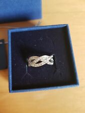 New Boxed Swarovski Rhodium plated crystal infinity Ring 52