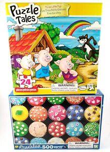 PuzzleBug 500pcs & Puzzle Tales 24pcs New Jigsaw Puzzles Ages 9 yrs+ & 5 yrs lot