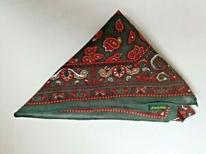 Barbour Green Red White Brown Paisley Men Cotton Hankie Pocket Square