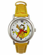 New Garfield Cat Girl Wrist watch w/ yellow leather band # on the moon