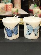 BLUE BUTTERFLIES Design HAND DECORATED COTTON BREEZE SCENT VOTIVE CANDLE SET OF2
