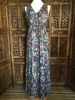 Per Una Weekend  Navy Blue &  Pink Floral  Maxi Dress Size 12 Devore (H1)