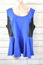 City Chic Peplum Tank Top Size Plus Large Blue Black Exposed Zip Sleeveless