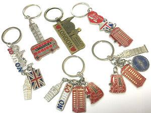 12 MIX BRITISH MINIATURE LONDON KEY RING BRELOCK DIECAST METAL KEYCHAIN SOUVENIR