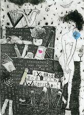 Nude, Books, Wine, Original Print, Ex libris Etching by Irina Yelagina, Russia