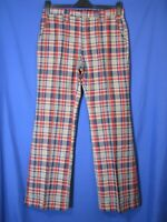 VTG WILD Red/Blue/White PLAID BELL BOTTOMS PANTS Golf Hippie! WIDE FLARE 32-32