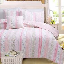 PINK ROMANTIC LACE Full Queen QUILT SET : COTTON CHIC SHABBY RAG FLORAL COVERLET