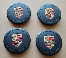 Porsche 911 930 944 Fuchs Factory OEM BLACK Wheels Center Caps Colored Crest (4)
