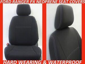 FITS FORD RANGER PX MK1 FRONT ONLY NEOPRENE SEAT COVERS FULL BACKS 4xMAP POCKETS
