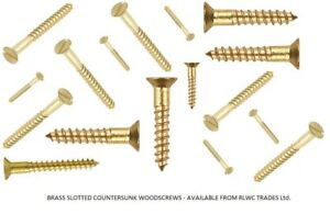 SOLID BRASS SLOTTED COUNTERSUNK WOOD SCREWS ALL GAUGES/SIZES 2,3,4,6,8,10,12