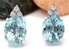 5.40 Carat Natural Aquamarine 14K Solid White Gold Diamond Stud Earrings