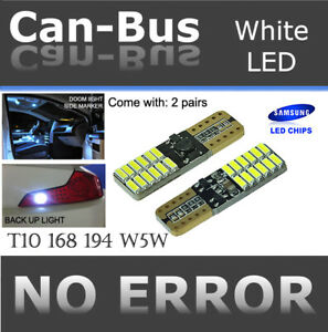 4x pc T10 168 194 Samsung 24 LED Chips Canbus White Plugin Step Light Lamps B941