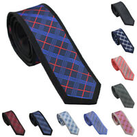 Coachella Ties Plaids Checks Border Necktie Jacquard Woven Skinny Tie 6CM
