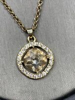 "Vintage Silver Tone Clear Color Rhinestone Pendant Necklace 18"" Signed M"