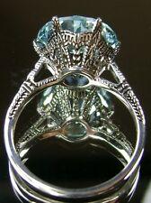 5ct *Aquamarine* Solid Sterling Silver Edwardian 1910 Etch Filigree Ring Size 10