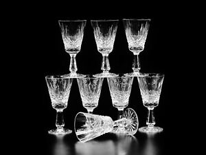 Set Of 8 White Wine Blown Glass Kenmare Cut By Waterford CRYSTAL Crafted In Irel