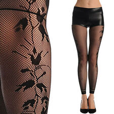 Black Floral Stocking Lolita Fishnet Tight Footless Pantyhose Side Seam Design