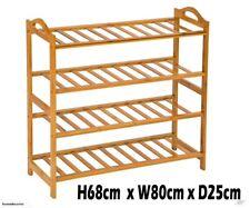 New 4 Tier Bamboo Furniture Book Shelves Shoe Rack Storage Organiser Stool
