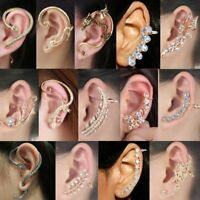 Women's Punk Fashion Crystal Clip Ear Cuff Stud Wrap Cartilage Earring Jewelry