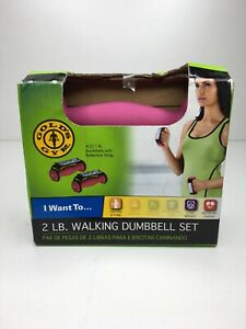 Gold's Gym Pink 1lb Walking Dumbbell Set With Reflective Strap Ergonomic Handle