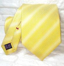 Cravatta a righe gialla sfumature verdi jacquard  TOP Quality NUOVA 100% seta