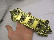 Antique Brass Triple Doorbell Architectural Gilt Rococo Green Man Apartment Old