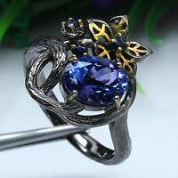 NATURAL VVS 7 X 9 mm. BLUE TANZANITE & DEEP BLUE SAPPHIRE RING 925 SILVER