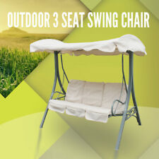 Outdoor Swing Chair 3 Seat Canopy Hanging Chair Garden Bench Steel Frame Cushion