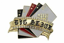 Men Women Big Size Gold Metal Belt Buckle Straight Royal Flush Cards Game Luck