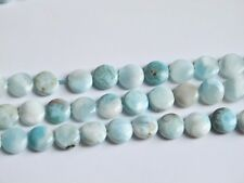 Larimar coin beads 12mm. Genuine gemstone beads. High quality. Half strand