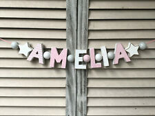 """AMELIA"" PINK WOODEN LETTERS BABYNAME NURSERY DECOR PERSONALIZED NAME SHABBY"
