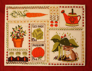 Wall Hanging Rabbit Ladybugs Charming Vintage  Wool Embroidery On Linen Picture