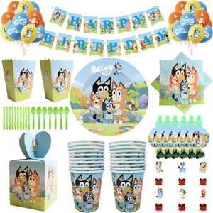 Bluey Birthday Party Supplies Tableware Decor Tablecloth Plates Balloon Banner