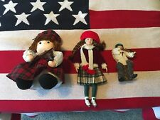 3 Handcrafted Dolls Windup Musical Violin Ice Skater Fiddler Ireland Mary Doyle