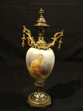 LOVELY 19th C. FRENCH GILT BRONZE CHAMPLEVE URN w/ ENAMELED PORCELIAN DECORATION