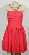 RENE DERHY Coral Red Shutter Pleat Dress Small Nude Mesh Shoulders with Beading