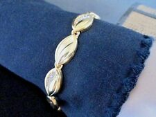 in. Gold Plated Stainless Steel Chain Bracelet Oval Link Cuff & Rhinestone 7.75