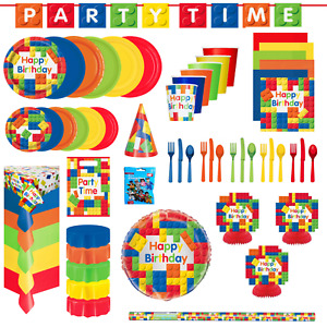 Building Block Birthday Party Childrens Tableware Plates Napkin Cup Decorations