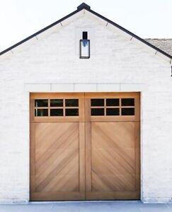 Cielo Design - [9' x 8'] Spanish Style Custom Solid Cedar Wood Garage Door