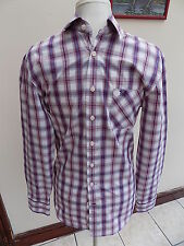 "STYLISH MENS CREW CLOTHING WHITE/RED/BLUE CHECK SHIRT SIZE XS 14"" COLLAR"