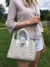 MICHAEL KORS CIARA STUDDED MEDIUM MESSENGER CEMENT PEBBLED LEATHER GROMMET BAG