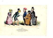 LITHOGRAPHIE COULEUR DE GRANDVILLE 19ème XXXII VENDRE SA FEMME EN ANGLETERRE